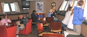 The 'entertainment' on the 72-passenger 'exploration' ship Spirit of Columbia occurs in this small lounge -- a venue for videos, PowerPoints and close-up viewing of wildlife and scenery.