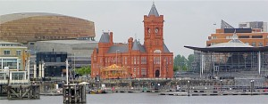 Reclaimed from its days as a derelict warehouse and shipping district, Cardiff Bay now boasts, from left, the Wales Millennium Center, the renovated Pierhead Building (constructed in 1896) and the National Assembly for Wales. A water bus runs people between Cardiff Bay and the center of the city.