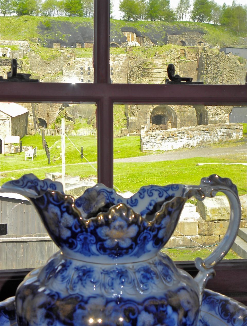 A water pitcher sits on the windowsill of one of the stone cottages the supervisors' families occupied more than 200 years ago at the Blaenavon Iron Works.