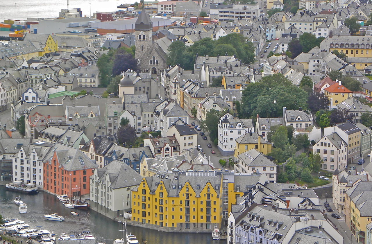The Art Nouveau town of Alesund, viewed from a scenic overlook. Robert N. Jenkins.