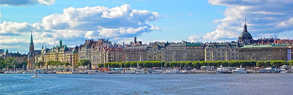Handsome 19th century buildings line the waterfront boulevards of Stockholm