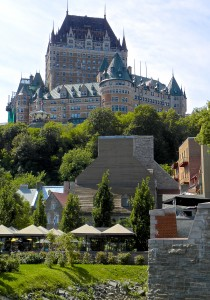 Rising above Quebec City's Lower Town is the iconic Chateau Frontenac, built in the late 1800s by the Canadian Pacific railway.